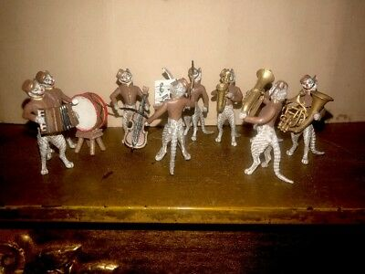 Antique Austrian Vienna Cold Painted Bronze Cat Band 9 Pc. NR