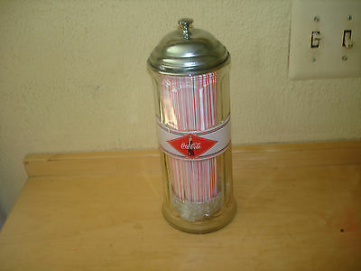 Coca-Cola Straw Dispenser New With Straws No Box Glass And Chrome Great Item!!