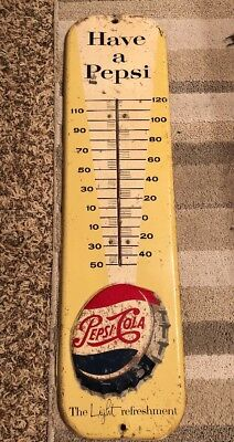 Vintage 1950s Pepsi Cola Thermometer Sign