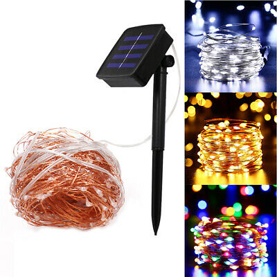 Outdoor Solar Powered 100/200 LED Fairy Light String Copper Wire Xmas Party