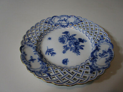 Cross Swords Mark Floral Plate Unmarked Except #18 And Blue Sword Mark 8 Inch
