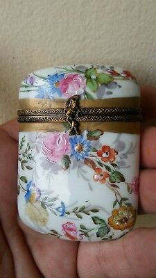 Antique Vintage Limoges Style Hand Painted Box or Needle Case Pink Roses Flowers