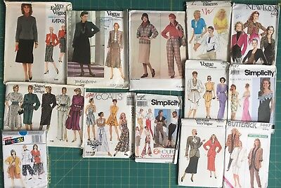 13 Vtg Sewing Patterns Vogue Simplicity YSL Kasper McClintock Cut /Uncut