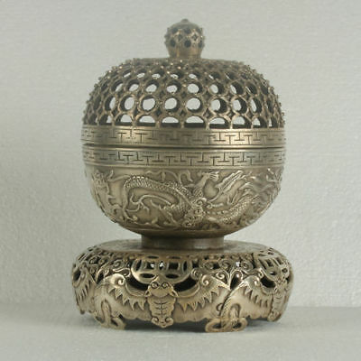 Chinese Silvering Copper Carved Dragon Incense Burner RT0005