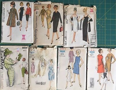 6 Vtg Sewing Patterns Advance Vogue 50's & 60's Dresses Coats Cut /Uncut