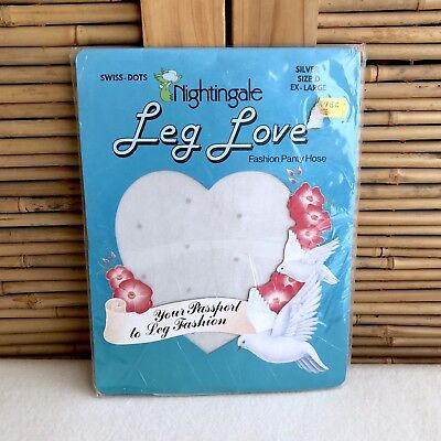 Vintage 80s NIGHTINGALE 'Leg Love' SILVER Sheer SWISS Dots PANTYHOSE ~ X-Large