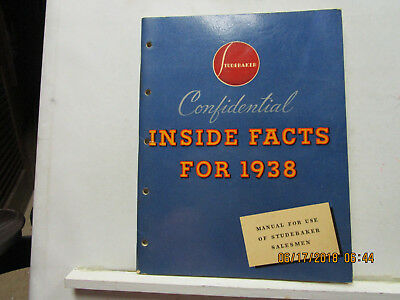 """Studebaker-""""confidential Inside Facts For ,1938 """", Book For Salesman--Rare-Mint"""