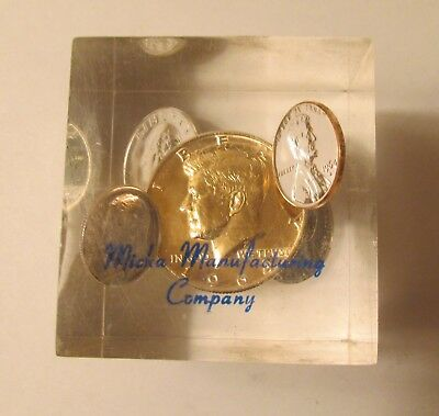 Rare & Unique 1964 Complete Set Silver Uncirculated Coins in Lucite Paperweight