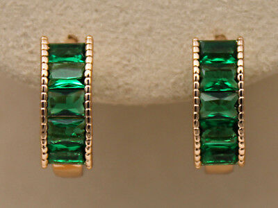 18K Gold Filled - Emerald Rectangle Gemstone Topaz Cocktail Women Hoop Earrings
