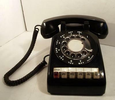 Vintage AT&T Rotary Dial Black Telephone & Handset With Hold For Multi-Line Use