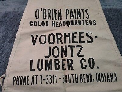 Vintage Voorhees-Jontz Lumber O'Brian Paints Nail Apron, South Bend, Indiana