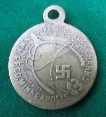 MINNESOTA swastika token - for good luck trade w/ Norhwestern Hide & Fur Co