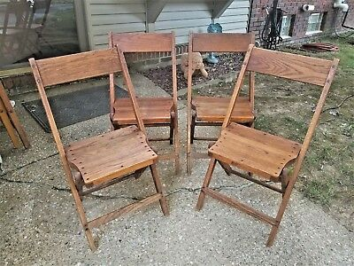 Antique Vintage Wooden Folding Chairs Set Of 4 Snyder Folding Chairs