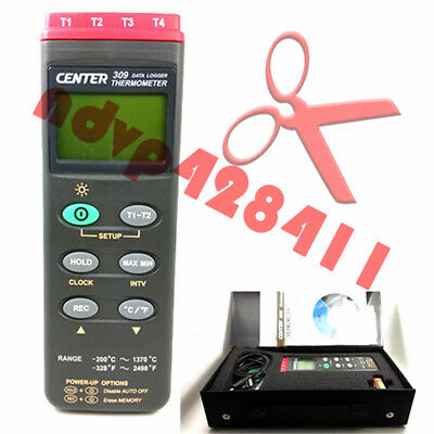 CENTER 309 Thermometer (K Type/Four Channels/Datalogger/PC Interface) New
