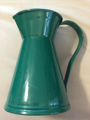 "Vintage Metal Tin Green Pitcher Milk 6"" Water Cocoa Decor Flower Vase"
