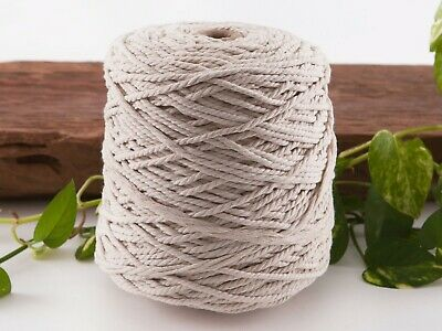 4mm macrame rope natural 3 strand string beige cotton cord twisted bulk ply