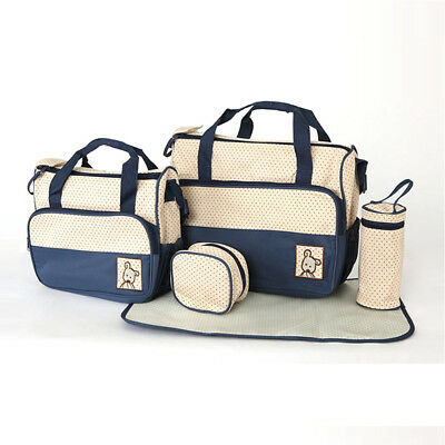 set of 5pc Baby Nappy Bag Changing Diaper Mommy Bag Handbag Multi-functional New