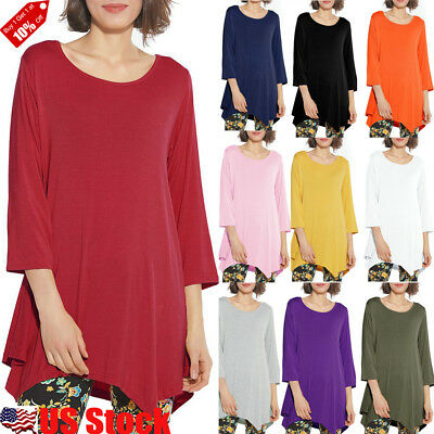 05f46f31f Plus Size Women 3/4 Sleeve Round Neck Tunic Top Ladies Casual Swing Long T