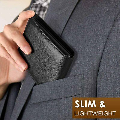 Mens Wallet Handmade Bifold RFID Blocking Genuine Leather Wallets for Men ID Win