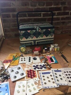 Singer Vintage Sewing Basket With Notions Button Lot Blue Fabric Wicker Box