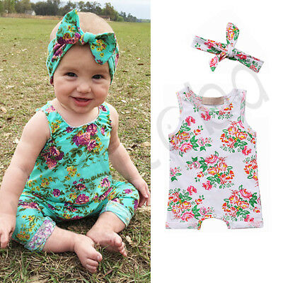 Floral Infant Newborn Baby Girl Short Jumpsuit Romper Bodysuit Cotton Clothes