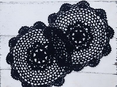 Twin Pack 2 X 25 Cm New Black Crochet Lace Doily