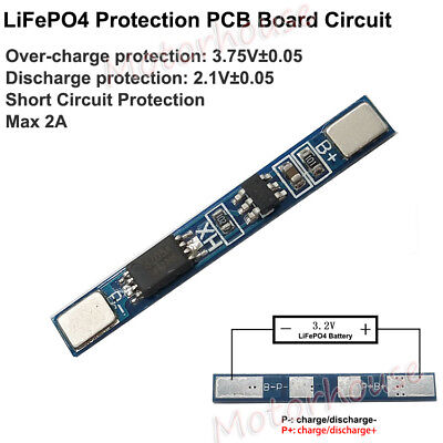 1S 2A 18650  LiFePO4 LiFe 3.2V Battery BMS Charger Circuit Protection PCB Board