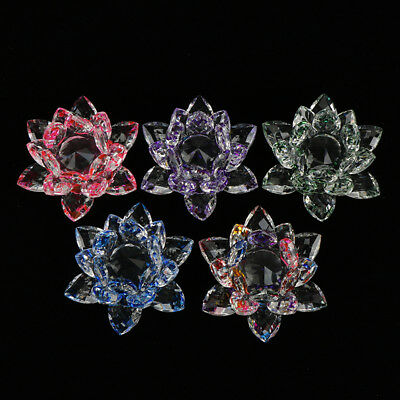 Crystal Lotus Flower Crafts Glass Home Wedding Party Decor Gifts Souvenir RS