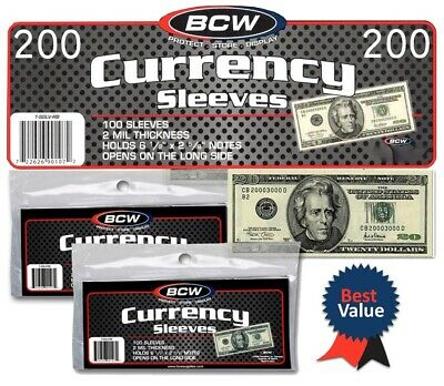 US Dollar Bill Currency Sleeves 200 Money Holders Soft Protectors Acid Free BCW