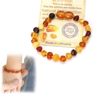 Genuine Baltic Amber Teething Bracelet Raw and Anklet Baby Beads for Teethers