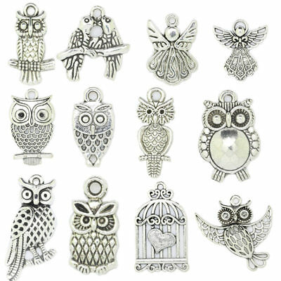 Antique Silver Owl Angel Fashion Charms Pendant Carfts DIY Jewelry Finding F