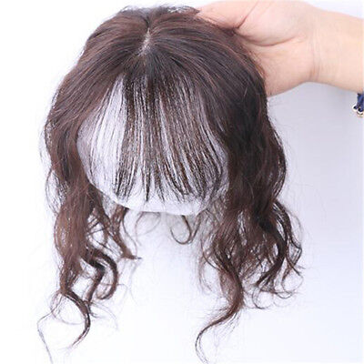 Hand-made Mono Curly 100% Human Hair Clip In Topper Hairpieces Toupee For Women