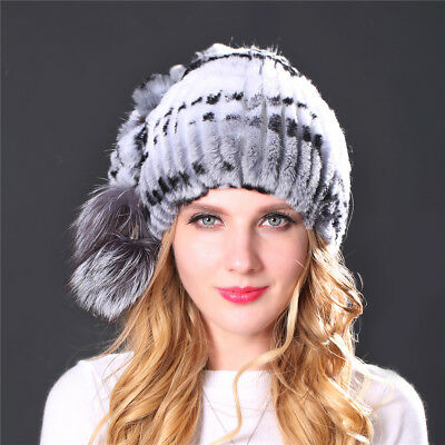 ef013107795 LIYAFUR New Women s Real Genuine Rex Rabbit Fur Hat Cap with Fox Fur Pom  Beanie