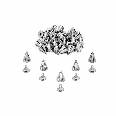 14mm Silver Cone Screwback Spikes Studs 50 Pcs For Bag Clothes Jacket Shoe