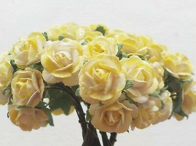 100 Cute Handmade Mulberry Paper Roses - 10mm - Yellow Blush Rose Embellishments