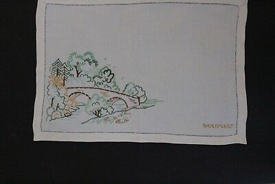 Vintage cream linen hand embroidered picture of trees and bridge at Dartmeet.