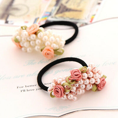 10 Type Unique Girls Hair Beads Pearl Band Rope Elastic Ponytail Tie Bobbles