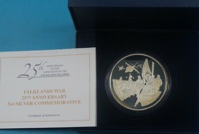 2007 Falklands Island 925 Silver Proof Medal 5 Oz  Liberation  Cased & Cert