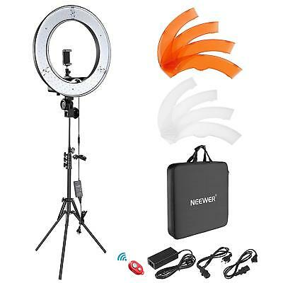 """Photo Studio 14"""" 224PC 3200K-5500K Dimmable LED Adjustable Ring Light+0.5M Stand"""