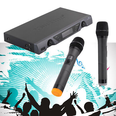 VHF Wireless 2 Channel Dual Handheld Microphone Mic System Kit Sing KTV Party BT