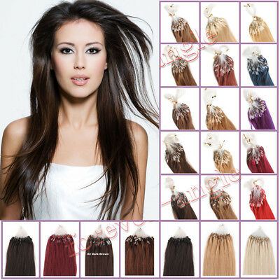 100 Extensions de CHEVEUX A FROID EASY LOOP Micro anneaux Humains NATURELS REMY