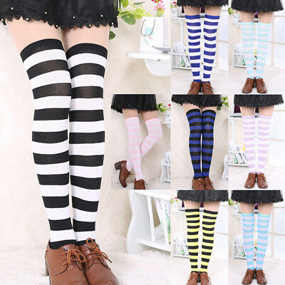 Woman OVER THE KNEE SOCKS Plain Striped High Thigh Ladies Long Stripey Stockings