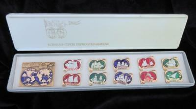 1960's Circa Boxed Set of Russian Shipping Badges 10 X Medium & One X Large =11.