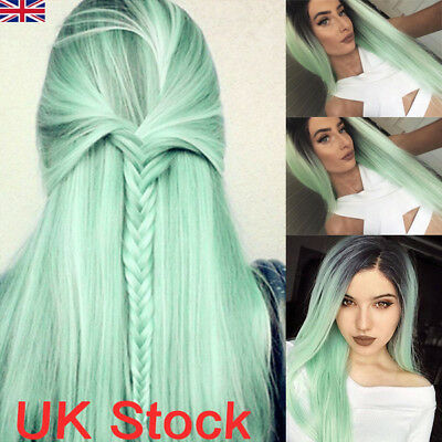 28'' Synthetic Hair Wig Long Straight Lace Front Wigs Heat Safe Ombre Mint Green