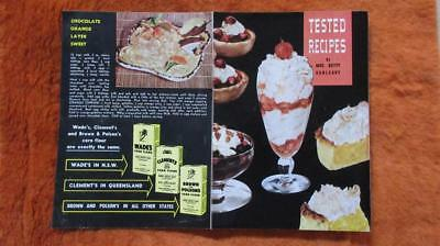 1960's Circa Wade's Clement's Brown & Polsen Corn Flour Tested Recipes Brochure