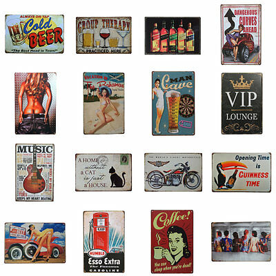Metal Tin Signs Vintage Wall Plaque Retro Club Pub Bar Poster Decor 56 Patterns
