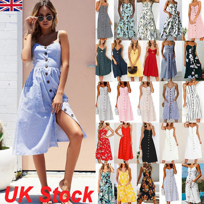 UK Womens Ladies Holiday Strappy Button Pocket Summer Beach Midi Swing Sun Dress