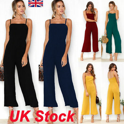 New Womens Summer Sleeveless Playsuit Party Career Romper Long Jumpsuit Trousers