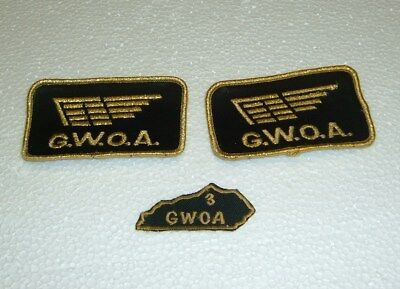 vtg. set of 3 g.w.o.a. goldwing of america patches rare