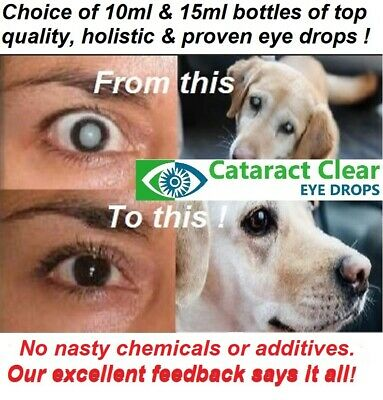 Cataract eye drops 2% N.A.C. for problem eyes. Proven to work on people & dogs!